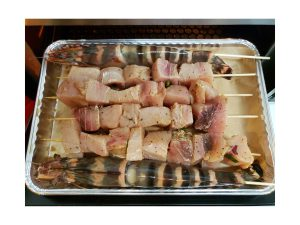 Jumbo Prawns & Swordfish Kebabs Prepared in Baking Tray