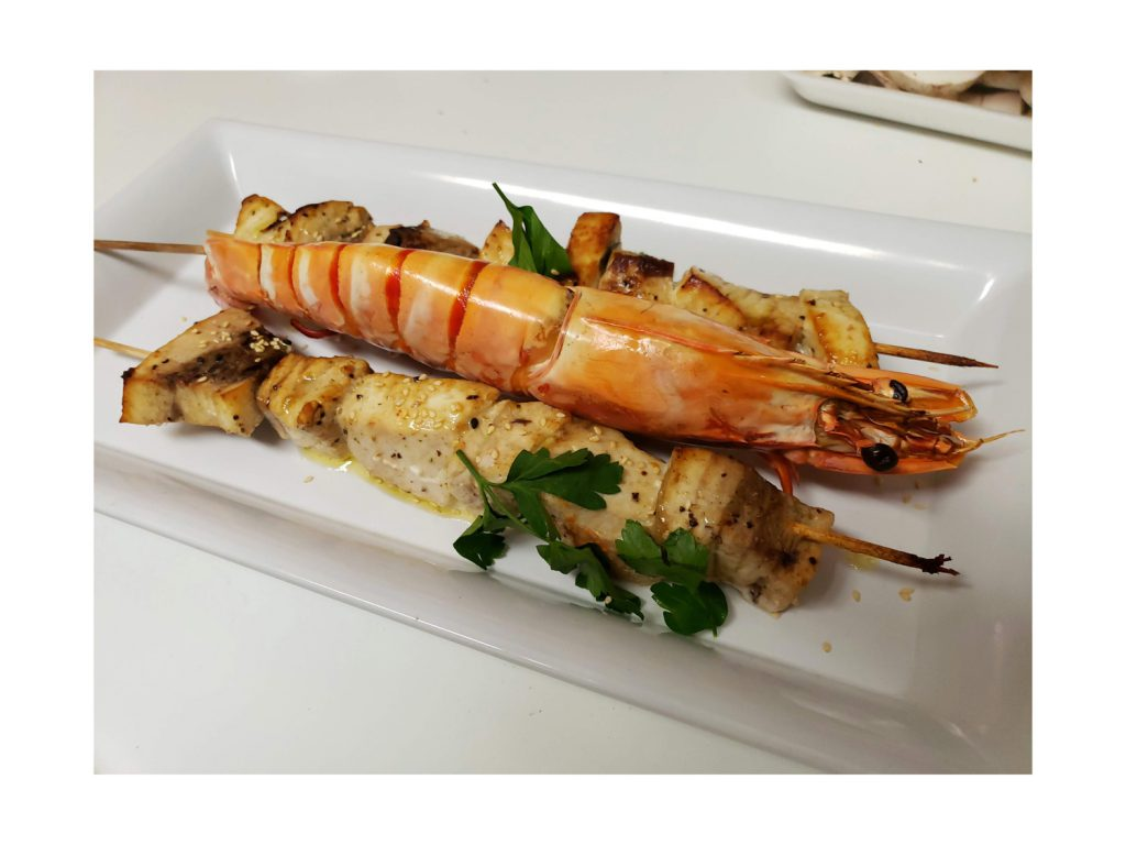 Plated Jumbo Prawns & Swordfish Kebabs