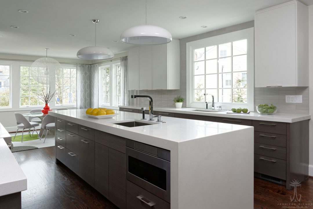 kitchen with Sharp built-in microwave drawer