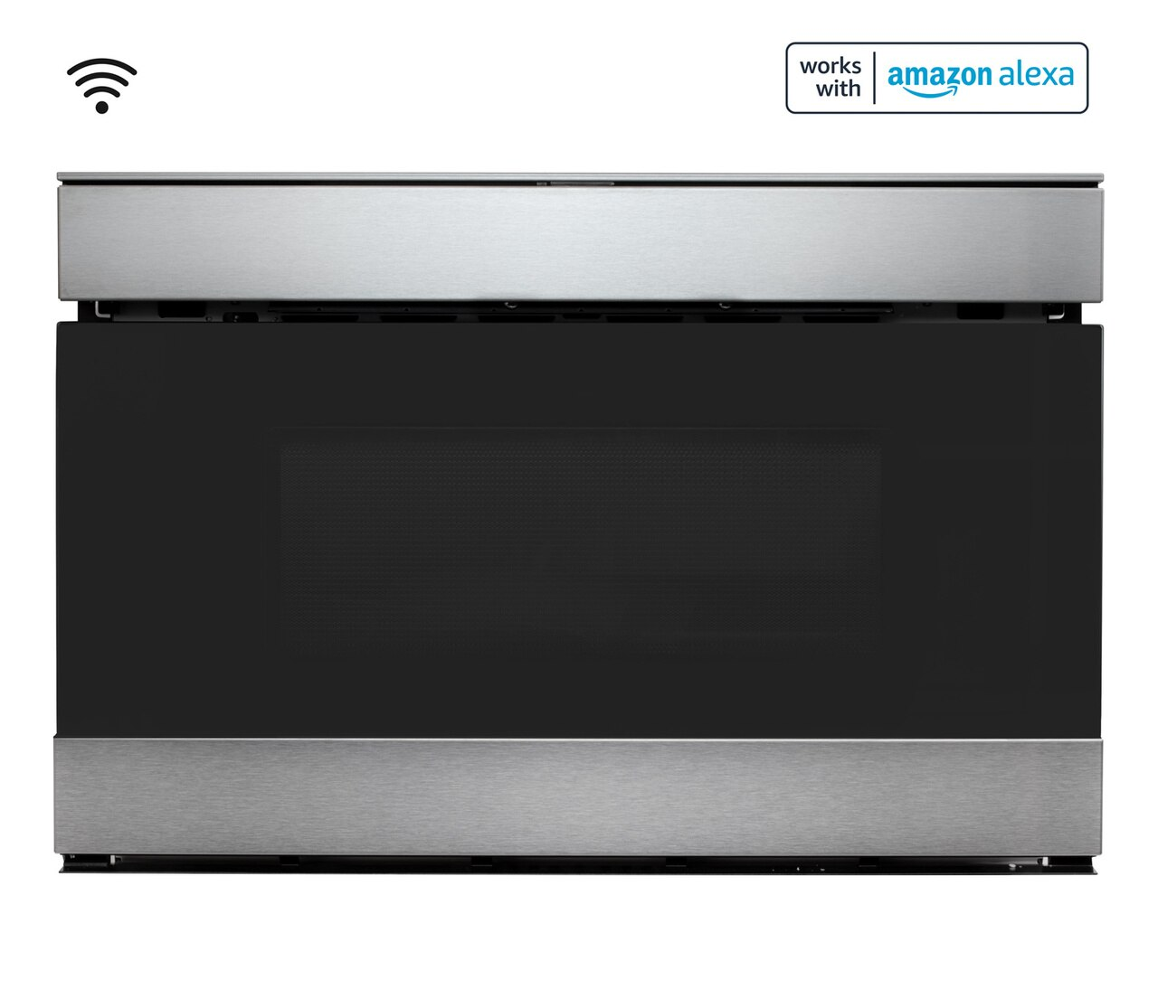 Pull-out Microwave: 24 in. Sharp Stainless Steel Smart Microwave Drawer Oven (SMD2489ES) Works with Alexa, and the Sharp Kitchen App on the App Store and Google Play: Head on