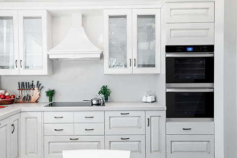Sharp double wall oven in a kitchen range