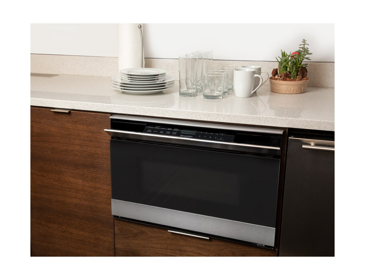 Pull-out Microwave: 24 in. Sharp Stainless Steel Smart Microwave Drawer Oven (SMD2489ES) Works with Alexa, and the Sharp Kitchen App on the App Store and Google Play:  – Microwave drawer installed under counter