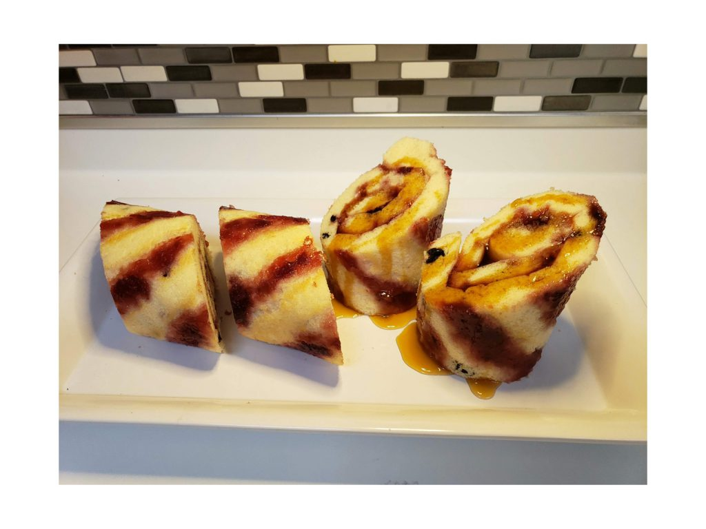 Plated Cherry & Blueberry Pancake Rolls