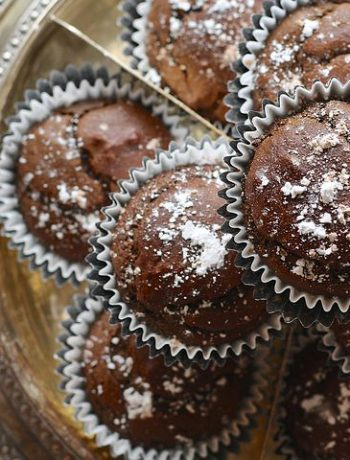 batch of dark chocolate muffins