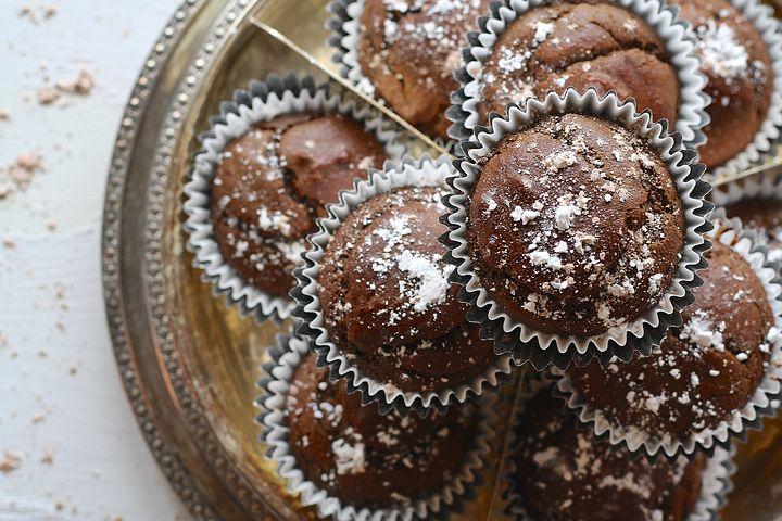batch of dark chocolate muffins