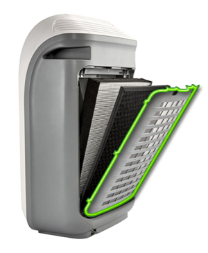 The washable Micro Mesh Pre-Filter on the FP-F60UW can be cleaned with a hand-held vacuum.