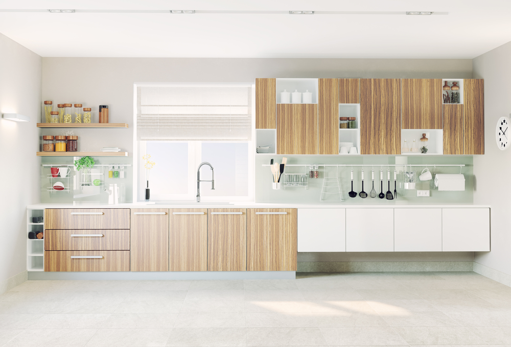 Modern kitchen design with ingridients and cooking tools.