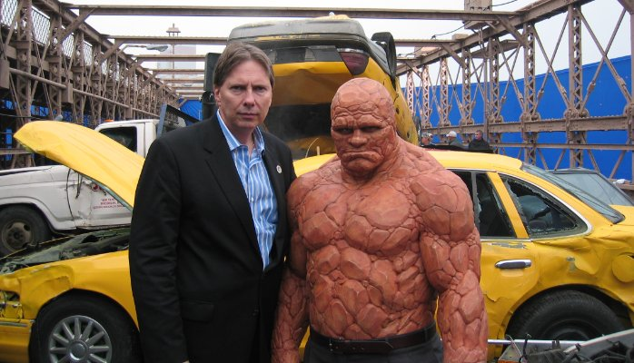 Peter Weedfald on the set of Fantastic Four