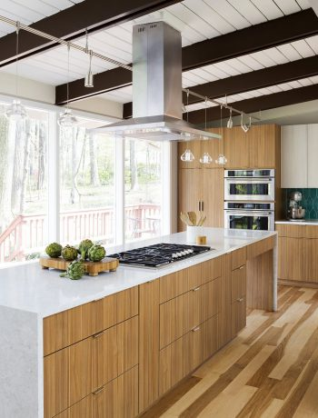 Modern kitchen design in a wooded area