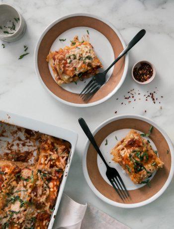 Vegan Lasagna servings on a plate