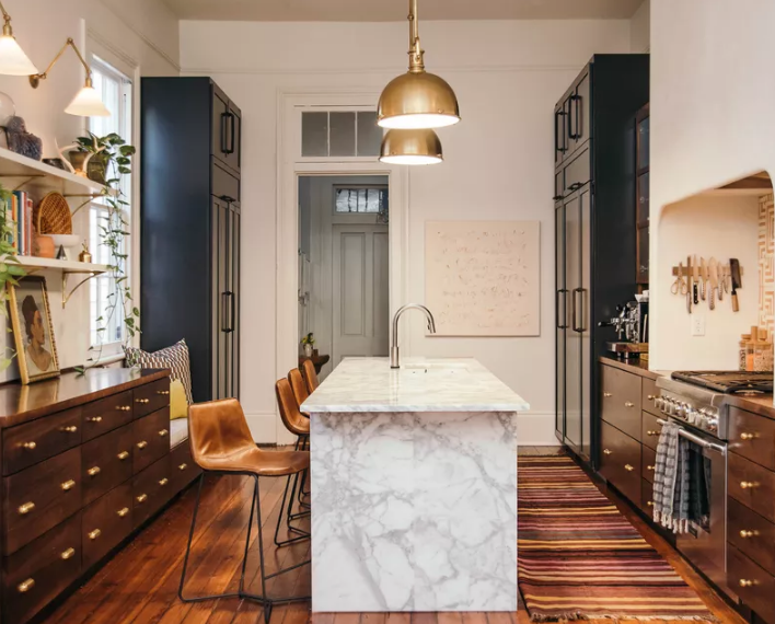 Modern kitchen design with a marble island