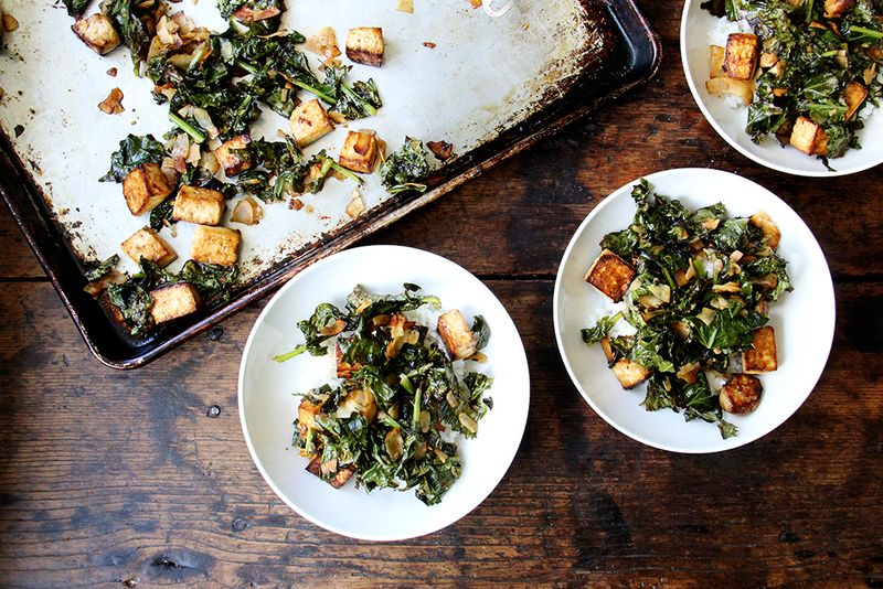 Baked Tofu Sheet Pan with bowl sized servings