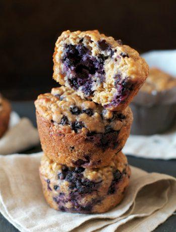 Blueberry Oat Greek Yogurt Muffins