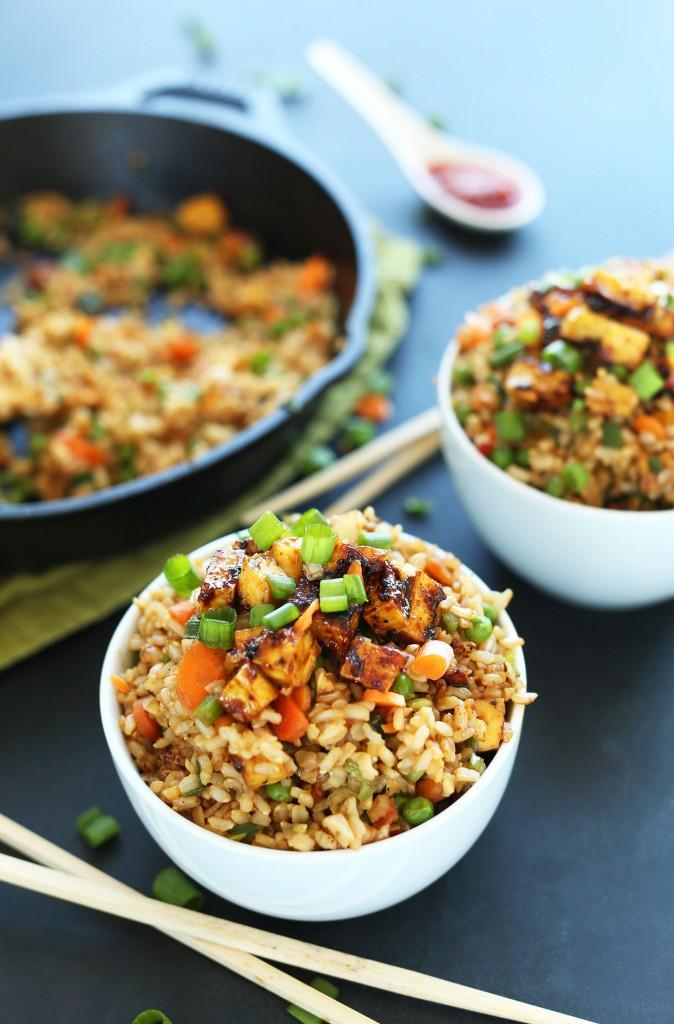 Vegan Fried Rice in bowls
