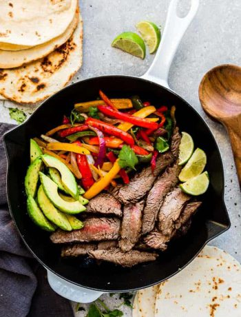 Low Carb Steak Fajitas in a pan