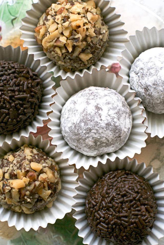 Rum balls in cupcake linings.