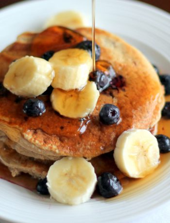 Oatmeal Cottage Cheese Banana Pancakes with bananas and syrup