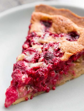 Rasberry Tart on a white plate