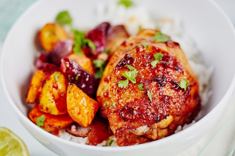 Honey-Chipotle Chicken in a white bowl.