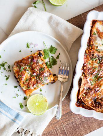 Vegetarian Enchilada Casserole being prepared
