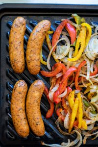 Sausage & Pepper Lettuce Wraps: Meat & Steamed Veggies- Sharp USA Steam Oven Recipes
