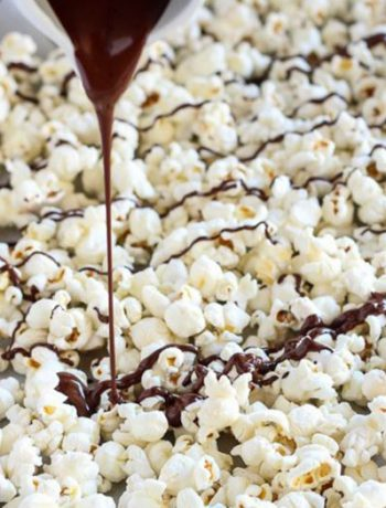 Popcorn with chocolate syrup