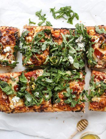 Pepperoni pizza in square slices