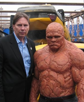 Peter Weedfald Michael Chiklis The Thing on the set of The Fantastic 4