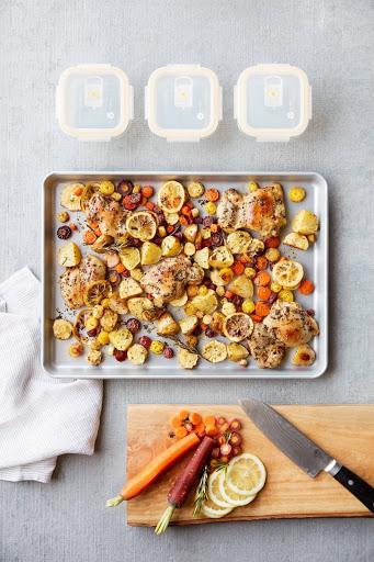 Sheet Pan Lemon Chicken being prepared