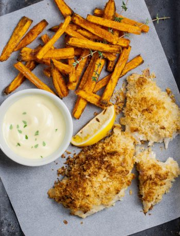 Steam Oven Almond Crumbed Fish With Sweet Potato Chips