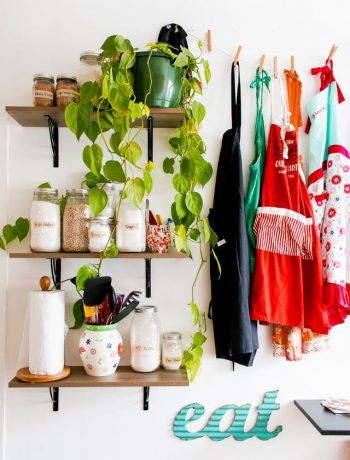Kitchen essentials and ingredients on shelves