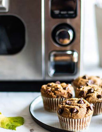 Pumpkin Chocolate Chip Muffins being served next to Sharp Supersteam Countertop Oven