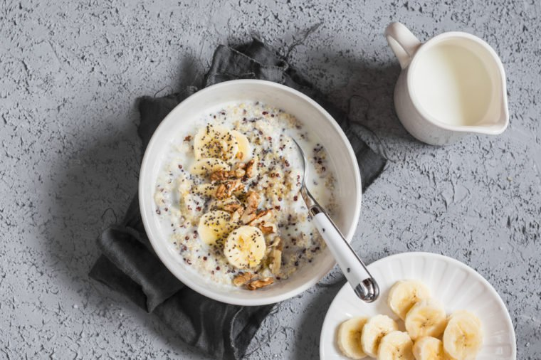 Bananas in a healthy morning breakfast.