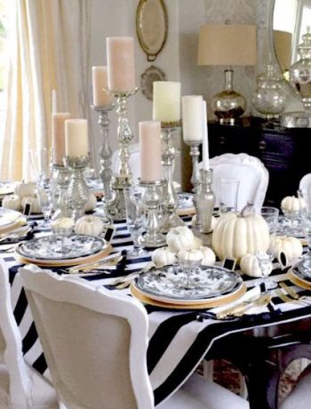 Fall dinner table setting and decor.