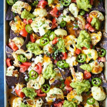 Sheet Pan Cauliflower Nachos being prepared