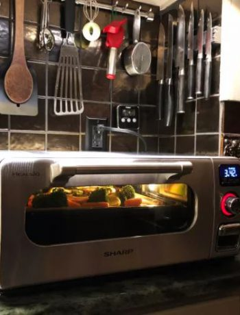 Food being prepared in a Sharp Supersteam Countertop Oven