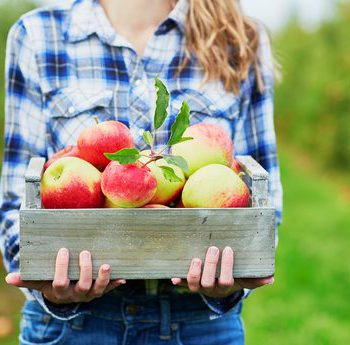 Woman holding a box of apples