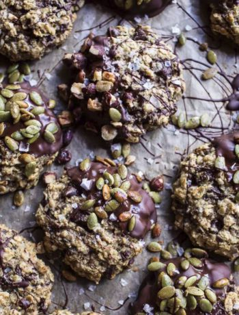 Mindful fall desserts with chocolate drippings