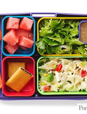 School lunch tray with foods and a fork