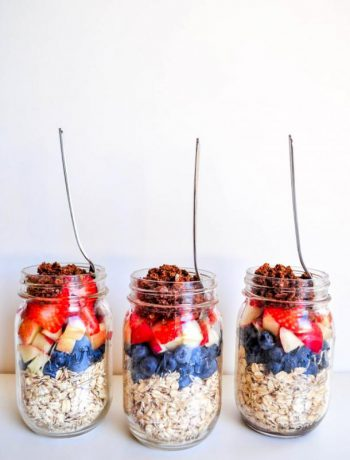Mason Jars with fuits and foods