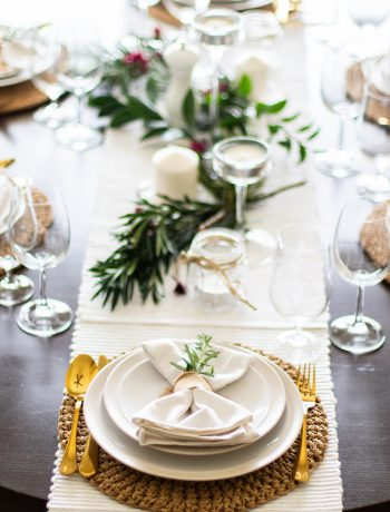 Formal dinner table setting.