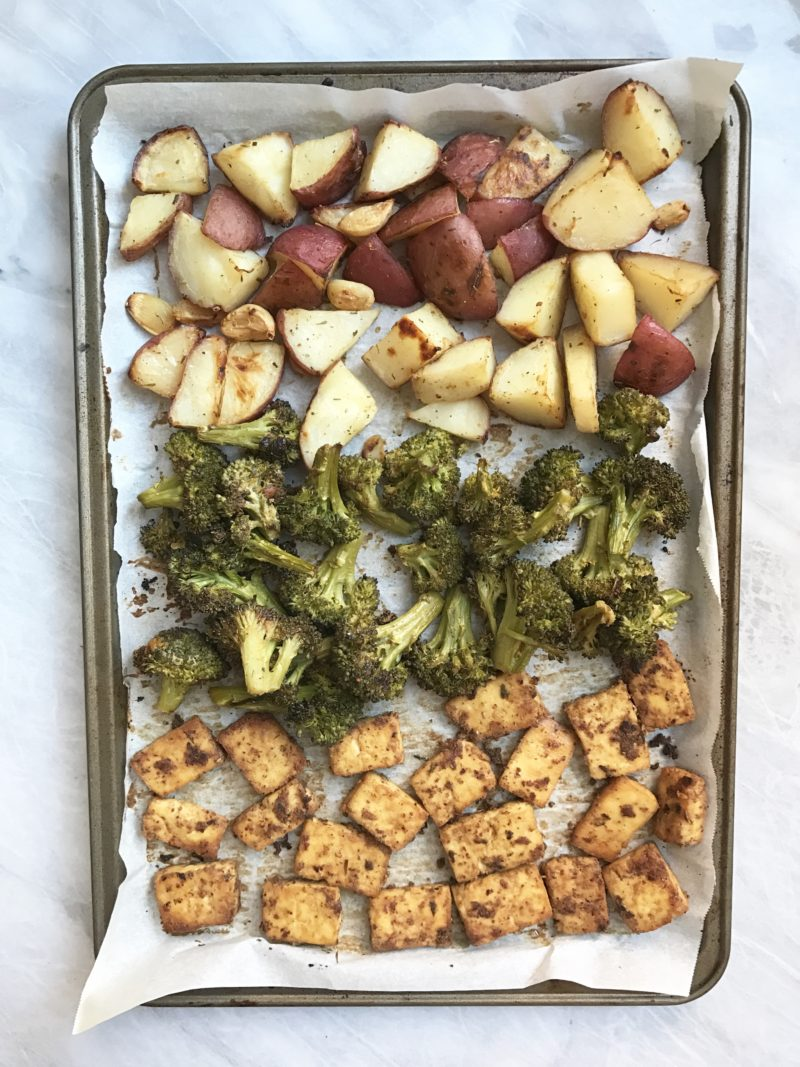 Vegan sheet pan being prepared