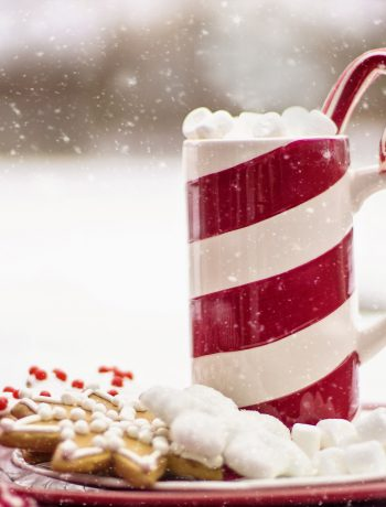 Candy cane mug with hot chocolate and holiday cookies.