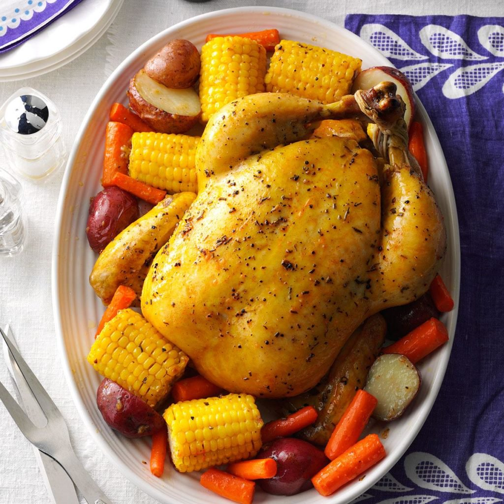 Taste of Home's Turkey dinner with corn and carrots.