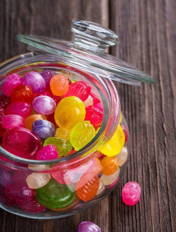 Hard candies in a jar.