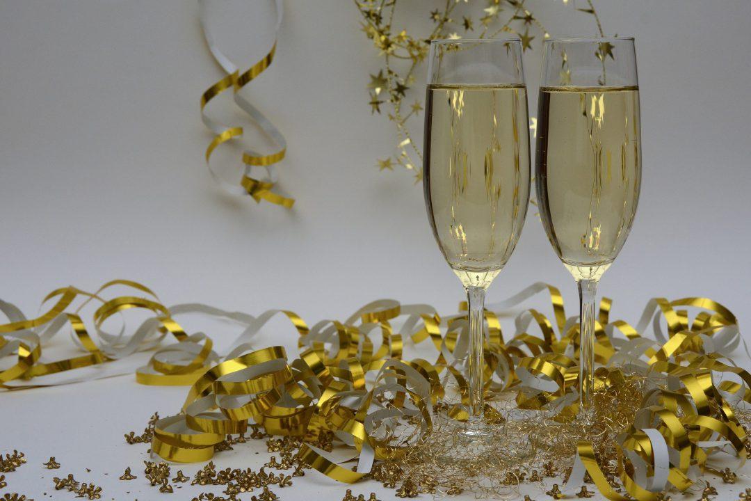 Champaign and New Year's confetti.
