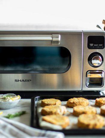 Salmon Sweet Potato Croquettes next to Sharp Superheated Steam Countertop Oven