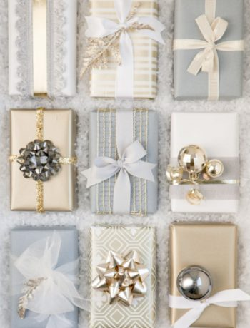 Wrapping paper decor and holiday decorations.