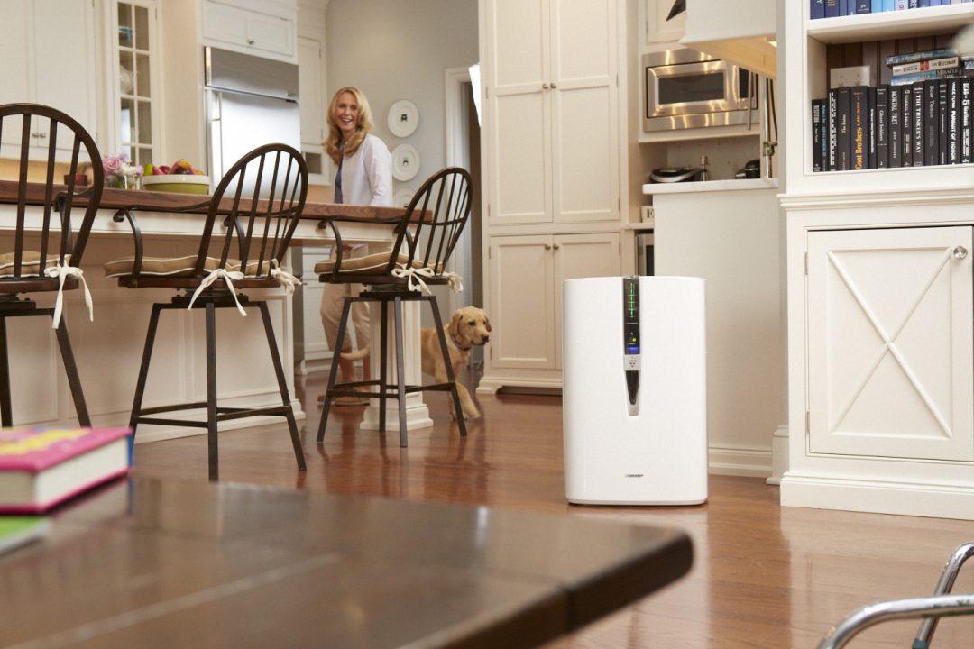Sharp Air Purifier in a kitchen next to a dog.