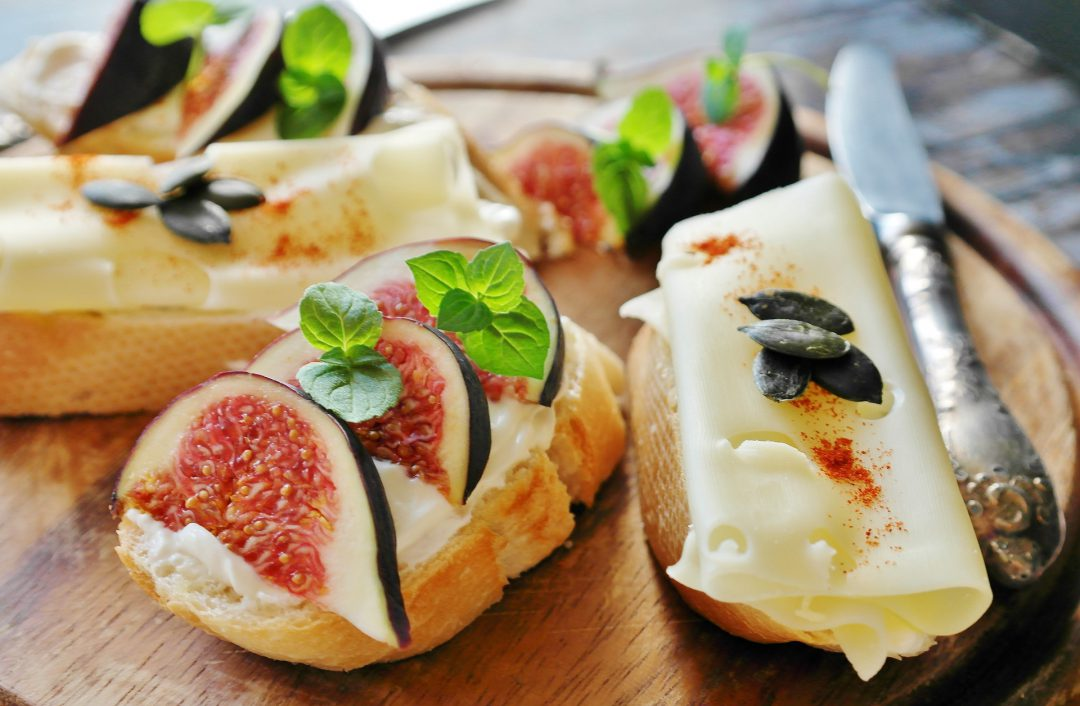 Fig and cheese recipes being prepared.